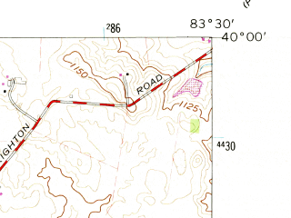Reduced fragment of topographic map en--usgs--024k--042307--(1961)--N040-00-00_W083-37-30--N039-52-30_W083-30-00; towns and cities Catawba, South Vienna
