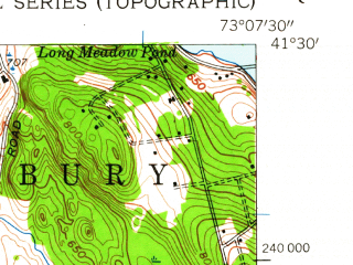 Reduced fragment of topographic map en--usgs--024k--042318--(1953)--N041-30-00_W073-15-00--N041-22-30_W073-07-30; towns and cities Heritage Village