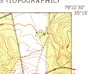 Reduced fragment of topographic map en--usgs--024k--042339--(1950)--N035-15-00_W079-30-00--N035-07-30_W079-22-30; towns and cities Pinehurst, Southern Pines, Aberdeen, Taylortown