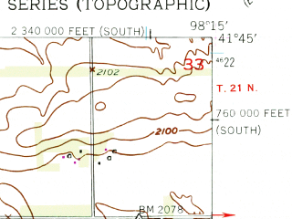 Reduced fragment of topographic map en--usgs--024k--042380--(1954)--N041-45-00_W098-22-30--N041-37-30_W098-15-00; towns and cities Spalding
