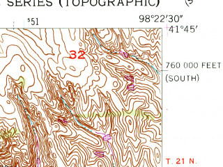 Reduced fragment of topographic map en--usgs--024k--042381--(1954)--N041-45-00_W098-30-00--N041-37-30_W098-22-30