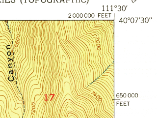 Reduced fragment of topographic map en--usgs--024k--042392--(1951)--N040-07-30_W111-37-30--N040-00-00_W111-30-00; towns and cities Mapleton