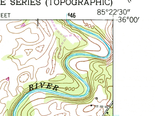 Reduced fragment of topographic map en--usgs--024k--042420--(1954)--N036-00-00_W085-30-00--N035-52-30_W085-22-30; towns and cities Sparta
