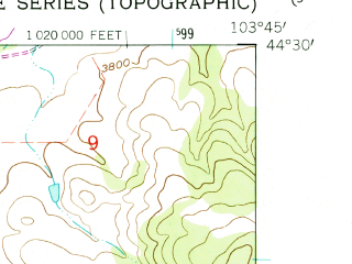 Reduced fragment of topographic map en--usgs--024k--042433--(1961)--N044-30-00_W103-52-30--N044-22-30_W103-45-00; towns and cities Spearfish