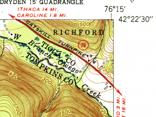Reduced fragment of topographic map en--usgs--024k--042450--(1951)--N042-22-30_W076-22-30--N042-15-00_W076-15-00