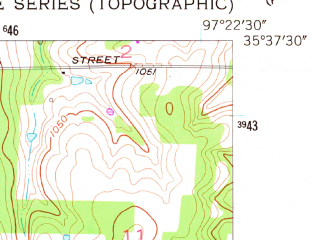 Reduced fragment of topographic map en--usgs--024k--042455--(1956)--N035-37-30_W097-30-00--N035-30-00_W097-22-30; towns and cities Forest Park, Lake Aluma