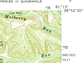 Reduced fragment of topographic map en--usgs--024k--042456--(1957)--N038-52-30_W081-22-30--N038-45-00_W081-15-00; towns and cities Spencer