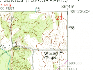Reduced fragment of topographic map en--usgs--024k--042457--(1956)--N039-22-30_W086-52-30--N039-15-00_W086-45-00; towns and cities Spencer