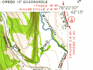 Reduced fragment of topographic map en--usgs--024k--042459--(1956)--N042-15-00_W076-30-00--N042-07-30_W076-22-30; towns and cities Spencer