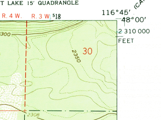 Reduced fragment of topographic map en--usgs--024k--042511--(1961)--N048-00-00_W116-52-30--N047-52-30_W116-45-00; towns and cities Spirit Lake