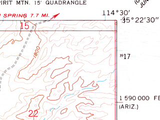 Reduced fragment of topographic map en--usgs--024k--042517--(1958)--N035-22-30_W114-37-30--N035-15-00_W114-30-00