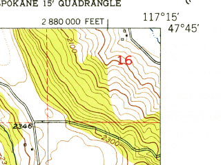Reduced fragment of topographic map en--usgs--024k--042544--(1950)--N047-45-00_W117-22-30--N047-37-30_W117-15-00; towns and cities Dishman, Millwood