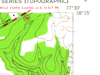 Reduced fragment of topographic map en--usgs--024k--042559--(1942)--N038-15-00_W077-37-30--N038-07-30_W077-30-00; towns and cities Spotsylvania