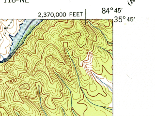 Reduced fragment of topographic map en--usgs--024k--042593--(1940)--N035-45-00_W084-52-30--N035-37-30_W084-45-00; towns and cities Spring City