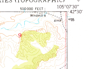 Reduced fragment of topographic map en--usgs--024k--042600--(1949)--N042-30-00_W105-15-00--N042-22-30_W105-07-30