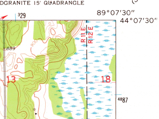 Reduced fragment of topographic map en--usgs--024k--042638--(1961)--N044-07-30_W089-15-00--N044-00-00_W089-07-30