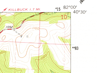 Reduced fragment of topographic map en--usgs--024k--042642--(1962)--N040-30-00_W082-07-30--N040-22-30_W082-00-00