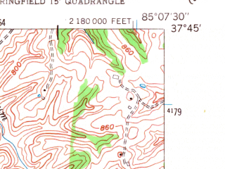 Reduced fragment of topographic map en--usgs--024k--042683--(1953)--N037-45-00_W085-15-00--N037-37-30_W085-07-30; towns and cities Springfield