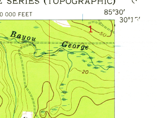 Reduced fragment of topographic map en--usgs--024k--042687--(1956)--N030-15-00_W085-37-30--N030-07-30_W085-30-00; towns and cities Callaway, Springfield, Cedar Grove, Parker