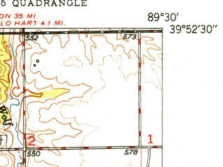 Reduced fragment of topographic map en--usgs--024k--042692--(1950)--N039-52-30_W089-37-30--N039-45-00_W089-30-00; towns and cities Clear Lake, Grandview, Riverton
