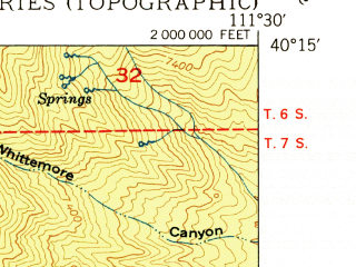 Reduced fragment of topographic map en--usgs--024k--042715--(1950)--N040-15-00_W111-37-30--N040-07-30_W111-30-00; towns and cities Springville