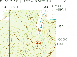 Reduced fragment of topographic map en--usgs--024k--042732--(1961)--N039-15-00_W107-37-30--N039-07-30_W107-30-00