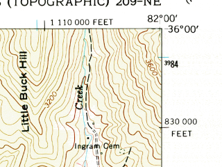 Reduced fragment of topographic map en--usgs--024k--042736--(1960)--N036-00-00_W082-07-30--N035-52-30_W082-00-00; towns and cities Spruce Pine