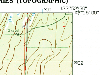Reduced fragment of topographic map en--usgs--024k--042797--(1959)--N047-15-00_W123-00-00--N047-07-30_W122-52-30