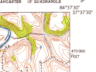 Reduced fragment of topographic map en--usgs--024k--042881--(1952)--N037-37-30_W084-45-00--N037-30-00_W084-37-30; towns and cities Stanford