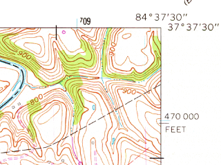 Reduced fragment of topographic map en--usgs--024k--042881--(1961)--N037-37-30_W084-45-00--N037-30-00_W084-37-30; towns and cities Stanford