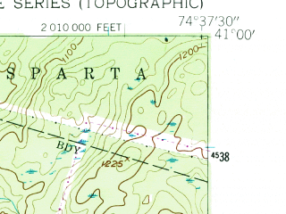 Reduced fragment of topographic map en--usgs--024k--042889--(1954)--N041-00-00_W074-45-00--N040-52-30_W074-37-30; towns and cities Hopatcong, Andover, Mount Arlington, Netcong