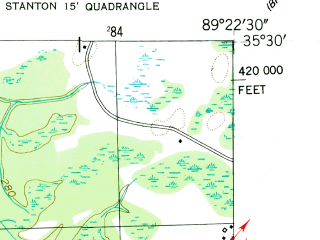 Reduced fragment of topographic map en--usgs--024k--042910--(1952)--N035-30-00_W089-30-00--N035-22-30_W089-22-30; towns and cities Stanton
