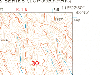 Reduced fragment of topographic map en--usgs--024k--042934--(1953)--N043-45-00_W116-30-00--N043-37-30_W116-22-30