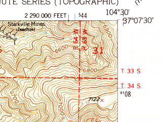 Reduced fragment of topographic map en--usgs--024k--042972--(1951)--N037-07-30_W104-37-30--N037-00-00_W104-30-00; towns and cities Starkville