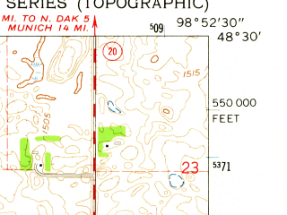 Reduced fragment of topographic map en--usgs--024k--042973--(1962)--N048-30-00_W099-00-00--N048-22-30_W098-52-30; towns and cities Starkweather