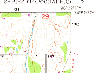 Reduced fragment of topographic map en--usgs--024k--043039--(1958)--N034-52-30_W096-30-00--N034-45-00_W096-22-30