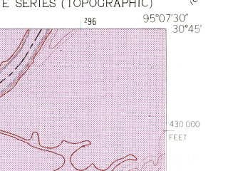 Reduced fragment of topographic map en--usgs--024k--043093--(1960)--N030-45-00_W095-15-00--N030-37-30_W095-07-30; towns and cities Point Blank