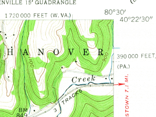 Reduced fragment of topographic map en--usgs--024k--043144--(1958)--N040-22-30_W080-37-30--N040-15-00_W080-30-00; towns and cities Brilliant, Follansbee, Hooverson Heights
