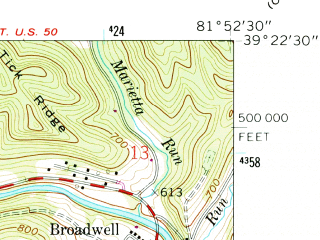 Reduced fragment of topographic map en--usgs--024k--043171--(1961)--N039-22-30_W082-00-00--N039-15-00_W081-52-30