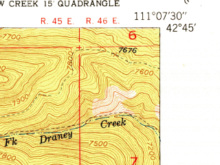 Reduced fragment of topographic map en--usgs--024k--043176--(1951)--N042-45-00_W111-15-00--N042-37-30_W111-07-30