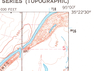 Reduced fragment of topographic map en--usgs--024k--043198--(1962)--N035-22-30_W095-07-30--N035-15-00_W095-00-00; towns and cities Stigler