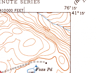 Reduced fragment of topographic map en--usgs--024k--043210--(1947)--N041-15-00_W076-22-30--N041-07-30_W076-15-00; towns and cities New Columbus, Stillwater