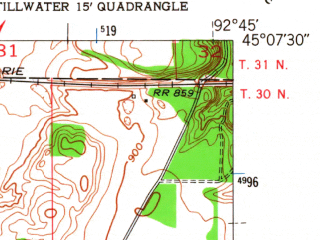 Reduced fragment of topographic map en--usgs--024k--043212--(1951)--N045-07-30_W092-52-30--N045-00-00_W092-45-00; towns and cities Stillwater, Bayport, Oak Park Heights