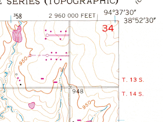 Reduced fragment of topographic map en--usgs--024k--043220--(1956)--N038-52-30_W094-45-00--N038-45-00_W094-37-30