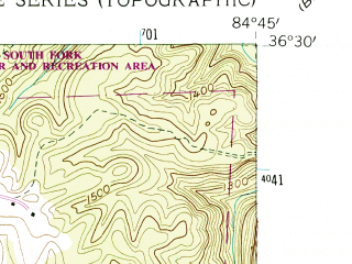 Reduced fragment of topographic map en--usgs--024k--043269--(1954)--N036-30-00_W084-52-30--N036-22-30_W084-45-00
