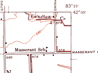 Reduced fragment of topographic map en--usgs--024k--043350--(1942)--N042-00-00_W083-22-30--N041-52-30_W083-15-00; towns and cities Woodland Beach, Detroit Beach, Stony Point