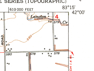 Reduced fragment of topographic map en--usgs--024k--043350--(1952)--N042-00-00_W083-22-30--N041-52-30_W083-15-00; towns and cities Detroit Beach, Stony Point, Woodland Beach