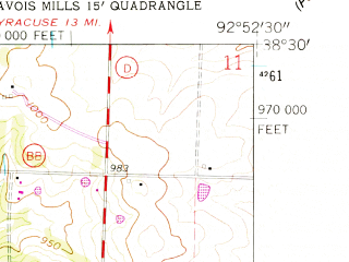 Reduced fragment of topographic map en--usgs--024k--043393--(1961)--N038-30-00_W093-00-00--N038-22-30_W092-52-30; towns and cities Stover