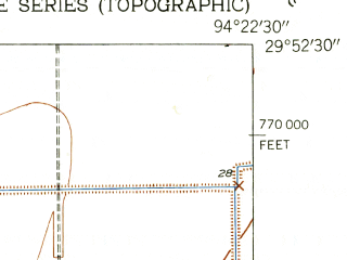 Reduced fragment of topographic map en--usgs--024k--043397--(1943)--N029-52-30_W094-30-00--N029-45-00_W094-22-30; towns and cities Stowell, Winnie
