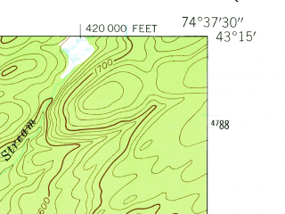 Reduced fragment of topographic map en--usgs--024k--043429--(1945)--N043-15-00_W074-45-00--N043-07-30_W074-37-30